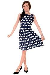 Ladies 50's 60's Retro Vintage Navy Scottie Dog Pleated Swing Pin Up Dress Sizes 8 10 12 14 16 18