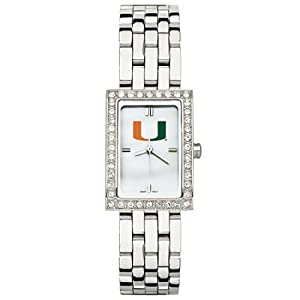 CZNSW22329Q-w-University of Miami Watch - Stainless Steel & Cz by NCAA Officially Licensed