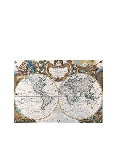Antique Double Hemisphere Map Of The World Canvas Wall Mural