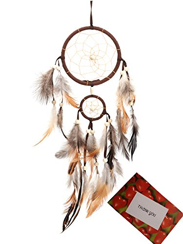 BS® Brown Handmade Beaded Feather Dream Catcher Circular Net For Car Kids Bed Room Wall Hanging Decoration Decor Ornament Craft + Gift bag + Gift Card, Dia of Circle: 4.33inch/11cm &1.97inch/5cm