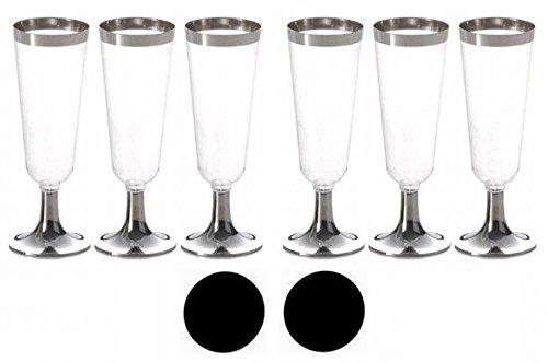 軽く 割れにくい プラスチック製 使い捨て シャンパングラス 6個 (160ml) & コースター 2枚セット キャンプ や アウトドア に最適 Shan6