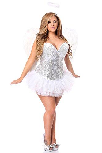 Daisy Corsets Women's Plus-Size Top Drawer 4 Piece Sequin Angel Corset Costume, Silver, 5X