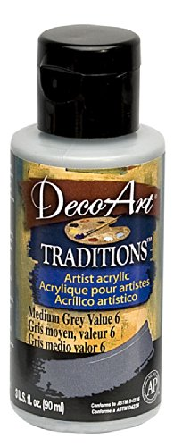 DecoArt Traditions Artist Acrylic Paint, 3-Ounce, Medium Grey - 1