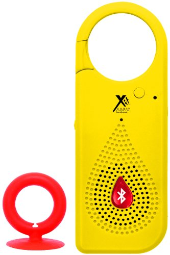 Bluetooth Wireless Speaker Clip For Smartphones, Cell Phones, Tablets, & Ipads | Comes With Usb Cable, Built-In Microphone, Rubber Coating, Suction Cup Loop And Stereo Cable (Yellow)