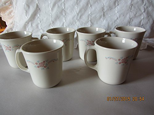 Set of 6 - Vintage Corning Corelle Beige English Breakfast 8 oz. Mugs Cups USA (Corelle Beige Dishes compare prices)
