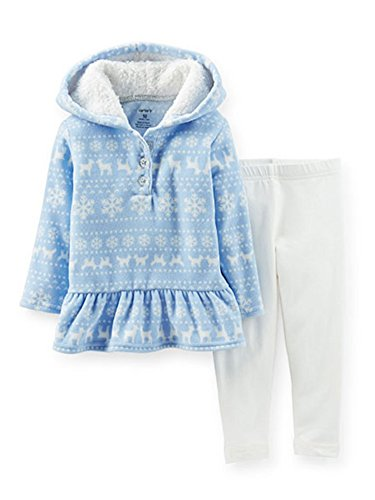 Carters Infant Girls 2 Piece Set Blue Deer Print Ruffled Sweatshirt & Leggings