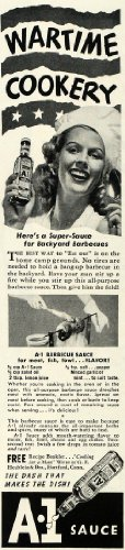 1943-ad-a1-steak-sauce-backyard-barbecue-wartime-bottle-original-print-ad