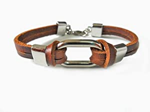 Bangle leather bracelet buckle bracelet men bracelet women bracelet made of alloy and brown leather wrist bracelet SL2308