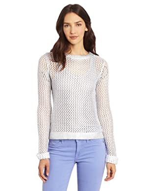 Kenneth Cole New York Women's Kole Sweater, White/Silver Light, Small