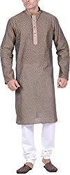 Kisah Men's Cotton Jacquard Kurta (KA-S-050K-38_Green_38)