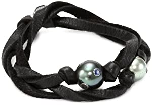 M.Cohen Hand made Designs Double Wrap with Three Tahitian Black Pearls and Gems Bracelet