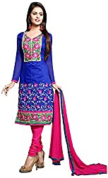 AAINA Women's Cotton Silk Unstitched Dress Material (Blue)