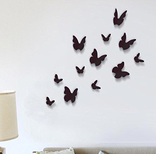walplus lot de 12 stickers muraux papillons 3d noir. Black Bedroom Furniture Sets. Home Design Ideas