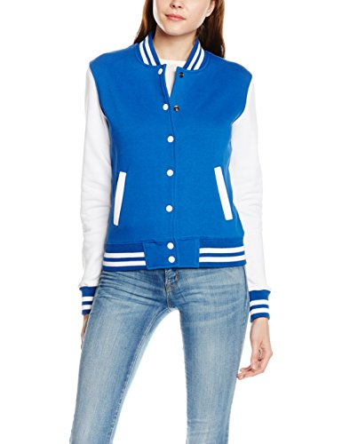 Urban Classics Ladies 2-Tone College Sweatjacket, Felpe Donna, Violett (Roy/Wht 204), M