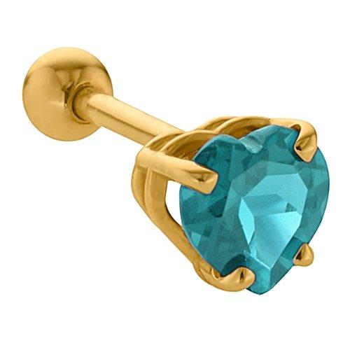 5mm Aquamarine Heart Cut 14K Yellow Gold Cartilage Stud Earring