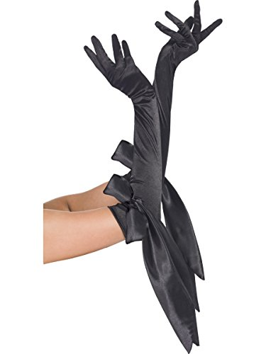 Fever Satin Long Gloves, Black, with Bow