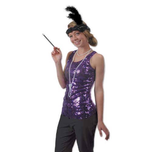 Flapper Headband & Beads Set (black) Party Accessory  (1 count) (1/Pkg) - 1