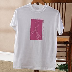 Personalized Breast Cancer Awareness Pink Ribbon T-Shirt - Never Give Up