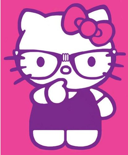 """Hello Kitty """"Thinking Nerd"""" Royal Plush Queen Size Blanket front-132532"""