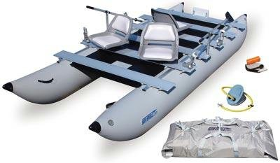 Image of Sea Eagle 440fc FoldCat 14ft 3 Inflatable Pontoon Boat Includes Oars (440FC-DLX)