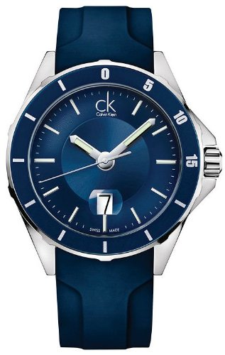Calvin Klein ck Play Blue Rubber Mens Watch K2W21TZX