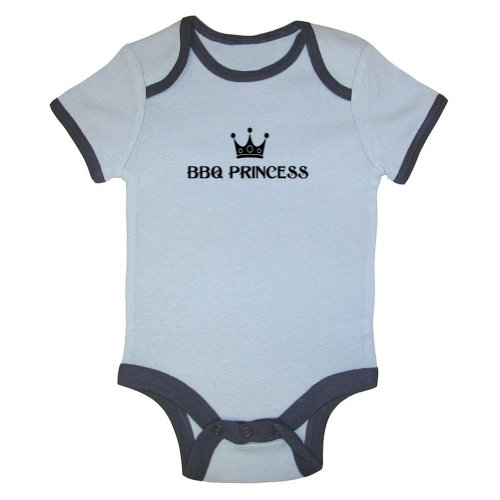 Tasty Threads BBQ Princess Ringer Baby Bodysuit (Blue Ringer, 6-12 Months)