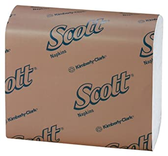 "Kimberly-Clark Scott 98710 Tall Fold Dispenser Napkin, 13-1/2"" Length x 7"" Width, White (40 Packs of 250)"