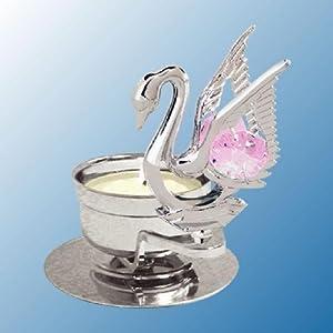 Chrome Plated Swan Tea Light Candle Holder - Pink - Swarovski Crystal