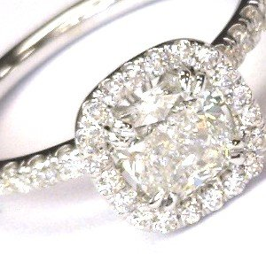 1.53 Ct F Si1 Gia Certified Cushion Cut Diamond 14K Engagement Halo Vintage Ring