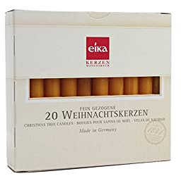 Eika Box of 20 finest Tree Candles - Solid colored - Made in Germany - Nature Yellow