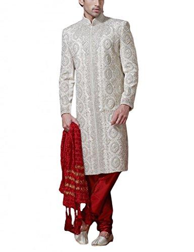Readiprint Men's Brocade Sherwani (12072_White and Off White_32) (multicolor)