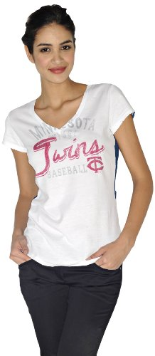 MLB Women's Minnesota Twins V Neck Distress Tee