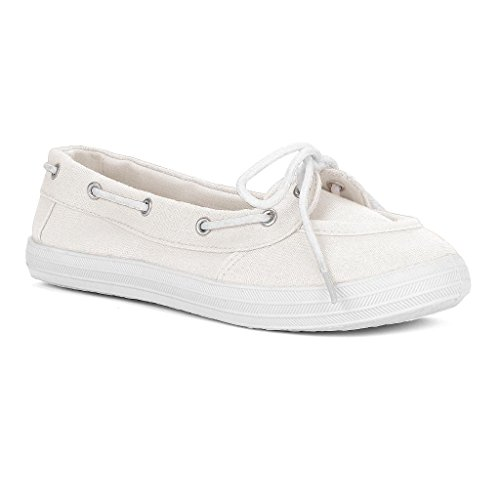 twisted s chion casual canvas boat shoe white