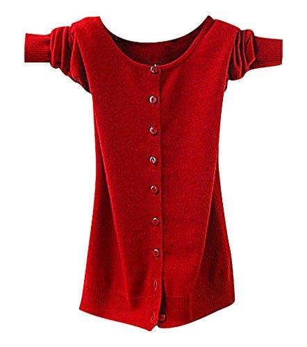 Maze, Women's Long Sleeve Buttoned Ribbed Cuff V Neckine Short Sweater Cardigan, BigRedO XXL ,Manufacturer(XXXL)