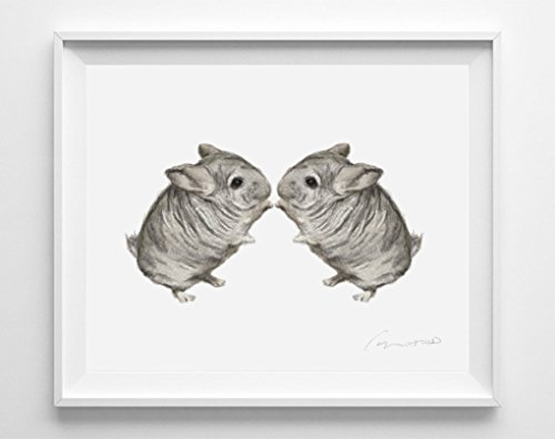 Chinchilla Watercolor Painting - Twins