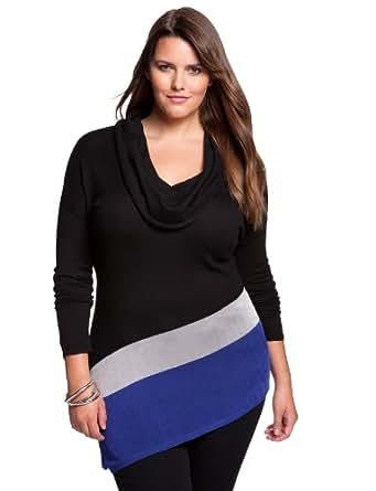 eloquii Cowl Neck Colorblock Tunic Women's Plus Size Black & Cobalt 22/24