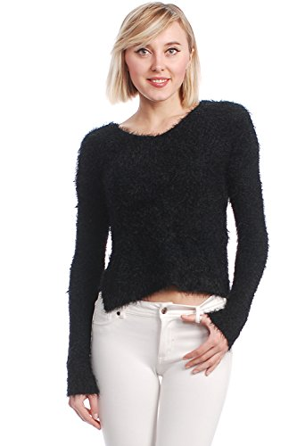 TRENDILITY Women's Pullover Hairy Knit Cropped Sweater (Small)
