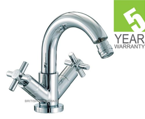 CROSS HEAD BATHROOM BIDET MONO MIXER TAP + CLICK WASTE