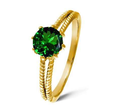 Vintage 9 ct Gold Ladies Solitaire Engagement Ring with Chrome Diopside 1.00 Carat