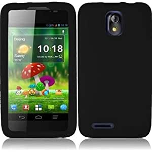 HR Wireless ZTE Engage LT N8000 Silicone Skin Cover Case - Retail Packaging - Black