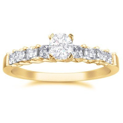 0.60 Carat Diamond Wedding Ring with Round cut Diamond on 18K Yellow gold