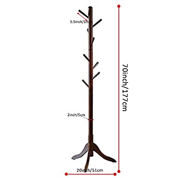 LCH Sturdy Coat Rack Solid Rubber Wood Hall Tree with Tripod Base, 8 Hooks,Also Suitable for Kids(Coffee)