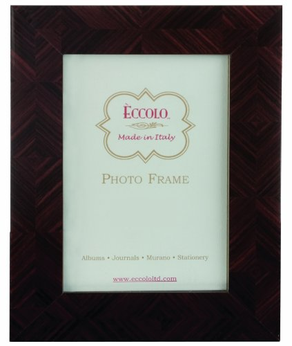 Eccolo Made in Italy Marquetry Wood Frame, Herringbone Parquet Brown, Holds a 4 x 6-Inch Photo