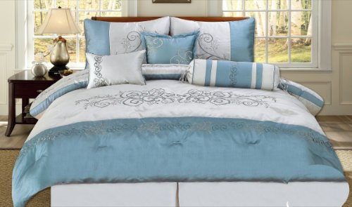 7 Piece Embroidered Scroll Design Teal Blue / Silver Comforter Set, Queen  Size