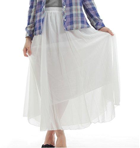 ロング 丈 が 大人 可愛い ふんわり & ペール トーン シフォン の 透け 感 が 女子力 高める チュール スカート (03 ホワイト)