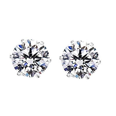 iJewelry2 Round Cut Clear CZ Stainless Steel Men Magnetic Stud Earrings No Piercing 7mm