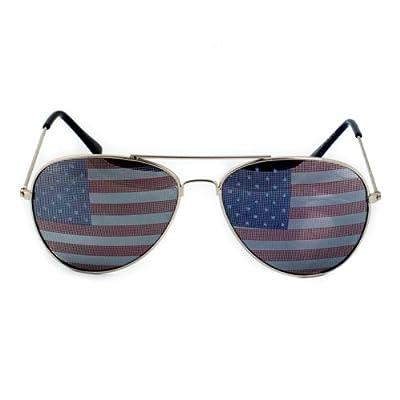 Goson® American Flag Mirror Aviator Sunglasses