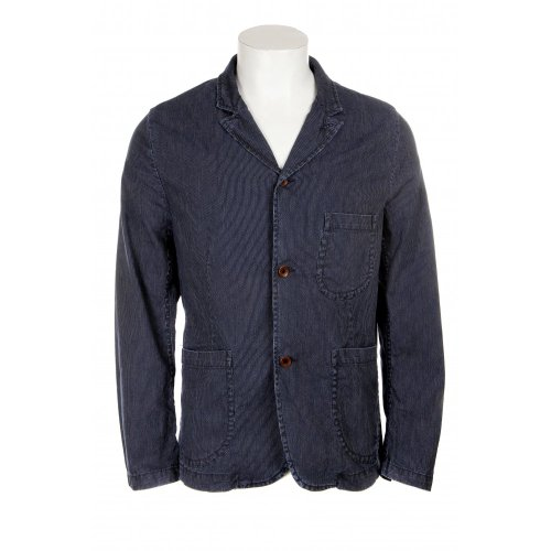 Edwin mens 3 button rail jacket in stone washed blue pin stripe denim LGE