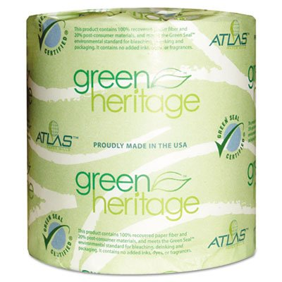 """Green Heritage 125 4.5"""" Length, 3.8"""" Width, 1-Ply Bathroom Tissue front-829963"""