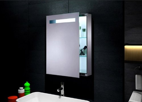 """Sliding Mirror Lighted Medicine Cabinet """"Kinetic"""" (Slide To Right) front-921760"""